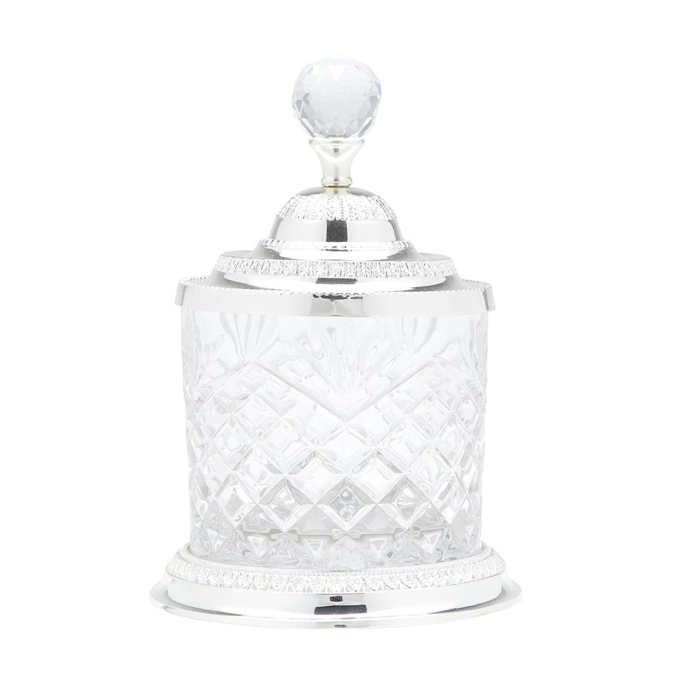 Pote Prateado Multiuso 18,6cm Cristal De Zamac Lyor