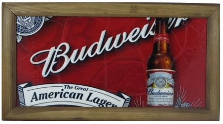 Quadro Madeira Rústica 20x40cm Budweiser Vintage Concept