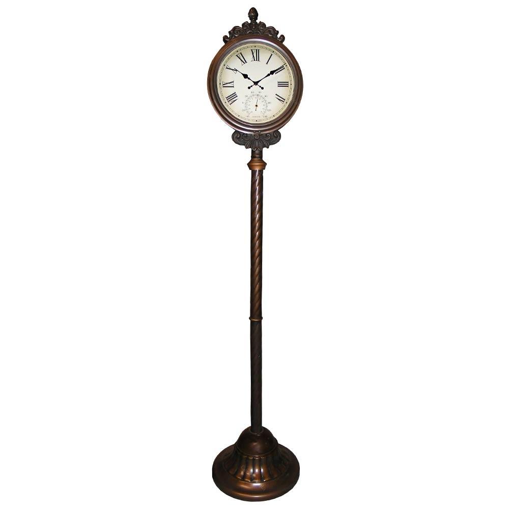 Relógio de Estação de Trem Pedestal Reto Metal 2 Faces Goods