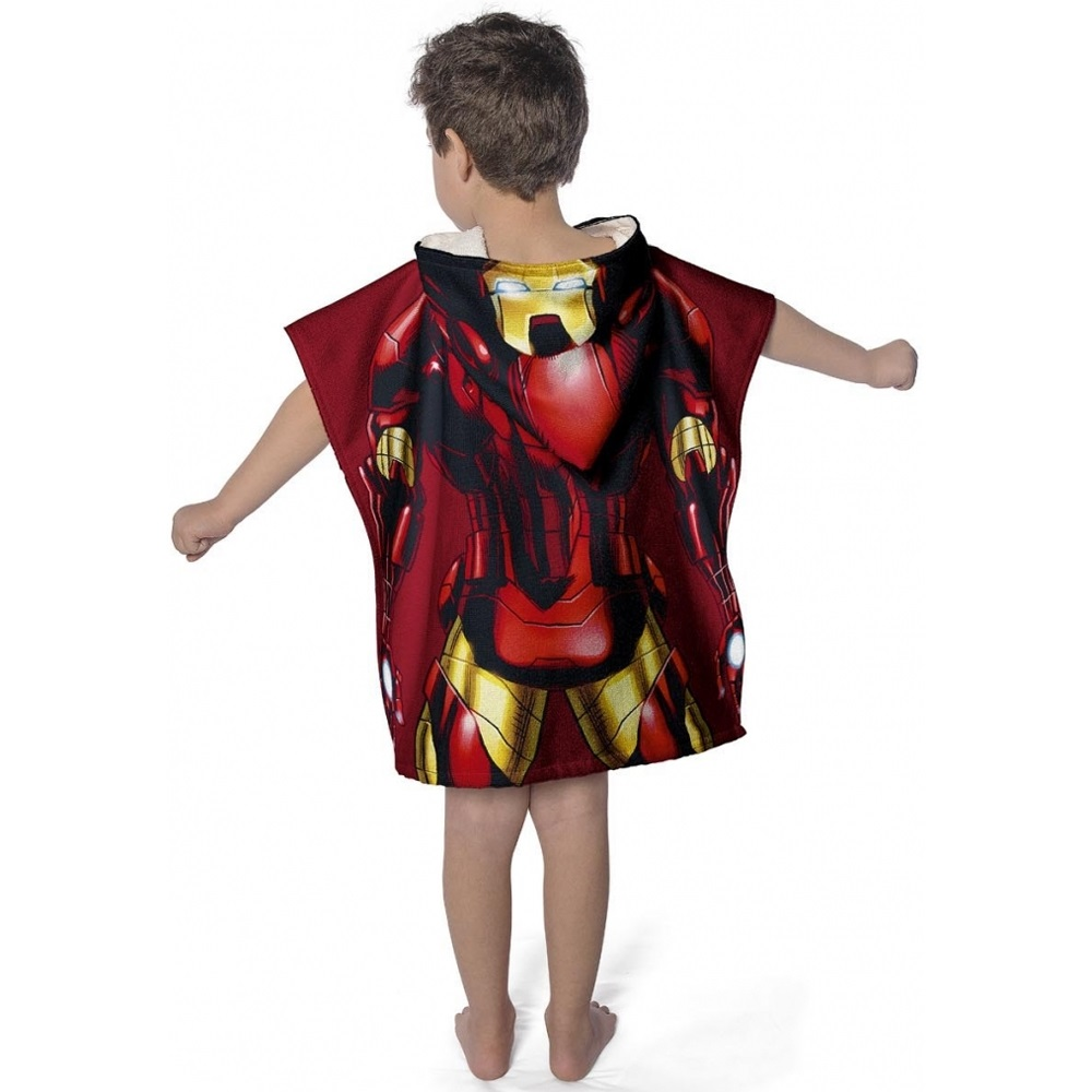 Toalha Infantil Estampada Com Capuz 50x110cm Iron Man Lepper