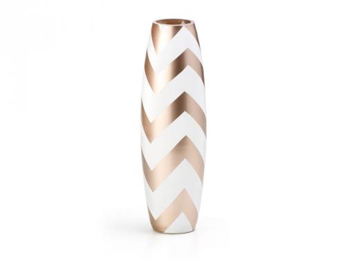 Vaso Branco Dourado 9x30cm Zig Zag Bencafil