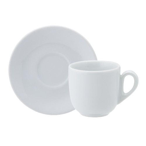 Xícara Chá Pires Linha Pampa Branco Porcelana Schmidt