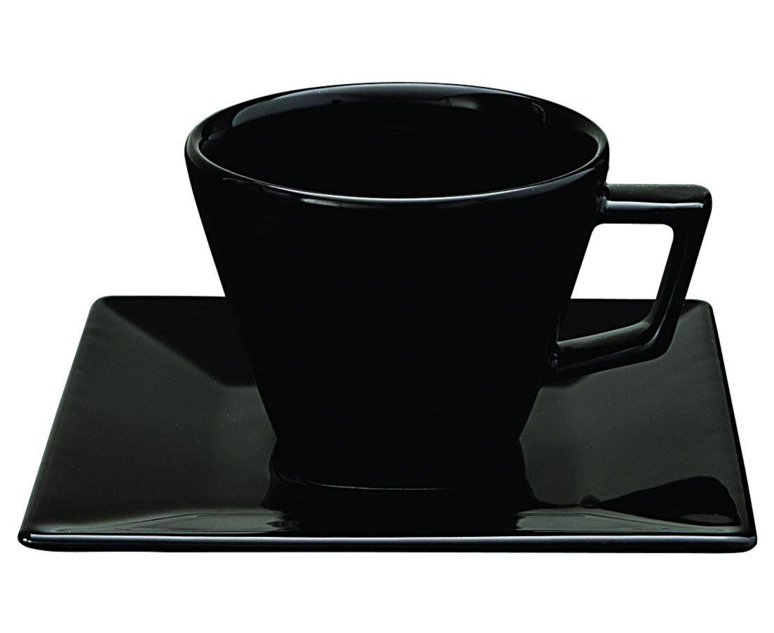 Xícara de Chá 200ml com Pires 14cm Quartier Black Oxford