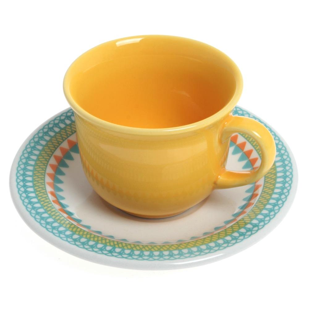 Xícara de Chá 200ml Com Pires 15cm Daily Floreal Bilro Oxford