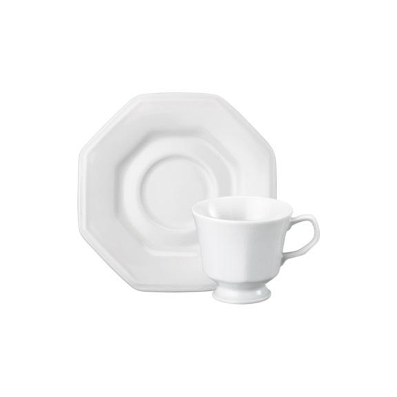 Xícara de Chá com pires Linha Prisma Branco Porcelana Schmidt