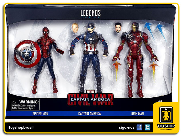 Marvel Legends Captain America Civil War: Spider-man, Captain America & Iron Man Pack 3 Figuras - Hasbro