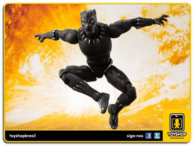 Marvel Avengers Infinity War S H Figuarts Black Panther & Tamashii Effect Rock Bandai
