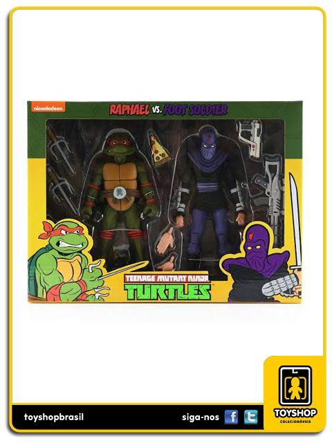 Teenage Mutant Ninja Turtles Raphael Vs. Foot Soldier Cartoon 2 Pack Neca
