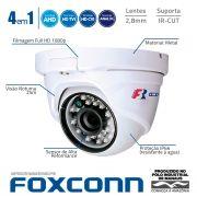 Câmera Dome Full HD 1080p Infravermelho Focusbras FBR FS-MDF2M 2,8mm 25m Visão Noturna - Multi HD: HDCVI + HDTVI + AHD + ANALÓGICO - Similar Intelbras VHD 1220 D