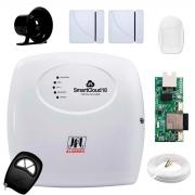 Central Alarme JFL SmartCloud 18 com 18 zonas + 2 Sensores Magnético Sem Fio + 1 Sensor de Alarme Infravermelho + Módulo Ethernet e Wi-Fi JFL ME-05 WB + Cabo 4 Vias 0,50mm 10m + Sirene