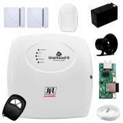 Central Alarme JFL SmartCloud 18 com 18 zonas + 2 Sensores Magnético Sem Fio + 1 Sensores de Alarme Infravermelho + Módulo Ethernet e Wi-Fi JFL ME-05 WB + Cabo 4 Vias 0,50mm 10m + Bateria + Sirene