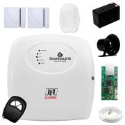 Central Alarme JFL SmartCloud 18 com 18 zonas + 2 Sensores Magnético Sem Fio + 1 Sensores de Alarme Infravermelho + Módulo Ethernet JFL ME-04 Mob + Cabo 4 Vias 0,50mm 10m + Bateria + Sirene