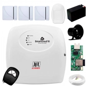 Central Alarme JFL SmartCloud 18 com 18 zonas + 3 Sensores Magnético Sem Fio + 1 Sensores de Alarme Infravermelho + Módulo Ethernet e Wi-Fi JFL ME-05 WB + Cabo 4 Vias 0,50mm 10m + Bateria + Sirene