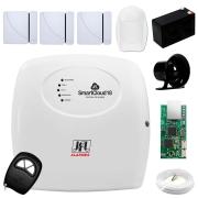 Central Alarme JFL SmartCloud 18 com 18 zonas + 3 Sensores Magnético Sem Fio + 1 Sensores de Alarme Infravermelho + Módulo Ethernet JFL ME-04 Mob + Cabo 4 Vias 0,50mm 10m + Bateria + Sirene