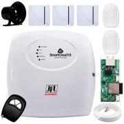 Central Alarme JFL SmartCloud 18 com 18 zonas + 3 Sensores Magnético Sem Fio + 2 Sensores de Alarme Infravermelho +  Módulo Ethernet e Wi-Fi JFL ME-05 WB  + Cabo 4 Vias 0,50mm 10m + Sirene