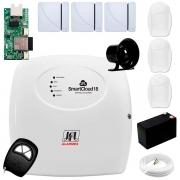 Central Alarme JFL SmartCloud 18 com 18 zonas + 3 Sensores Magnético Sem Fio + 3 Sensores de Alarme Infravermelho + Módulo Ethernet e Wi-Fi JFL ME-05 WB + Cabo 4 Vias 0,50mm 10m + Bateria + Sirene