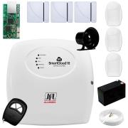 Central Alarme JFL SmartCloud 18 com 18 zonas + 3 Sensores Magnético Sem Fio + 3 Sensores de Alarme Infravermelho + Módulo Ethernet JFL ME-04 Mob + Cabo 4 Vias 0,50mm 10m + Bateria + Sirene