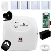 Central Alarme JFL SmartCloud 18 com 18 zonas + 4 Sensores Magnético Sem Fio + 1 Sensor de Alarme Infravermelho + Módulo Ethernet e Wi-Fi JFL ME-05 WB+ Cabo 4 Vias 0,50mm 10m + Bateria + Sirene