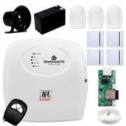 Central Alarme JFL SmartCloud 18 com 18 zonas + 4 Sensores Magnético Sem Fio + 3 Sensores de Alarme Infravermelho + Módulo Ethernet e Wi-Fi JFL ME-05 WB + Cabo 4 Vias 0,50mm 10m + Bateria + Sirene