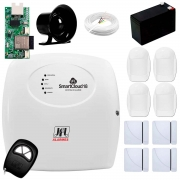 Central Alarme JFL SmartCloud 18 com 18 zonas + 4 Sensores Magnético Sem Fio + 4 Sensores de Alarme Infravermelho + Módulo Ethernet e Wi-Fi JFL ME-05 WB + Cabo 4 Vias 0,50mm 10m + Bateria + Sirene
