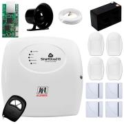 Central Alarme JFL SmartCloud 18 com 18 zonas + 4 Sensores Magnético Sem Fio + 4 Sensores de Alarme Infravermelho + Módulo Ethernet JFL ME-04 Mob + Cabo 4 Vias 0,50mm 10m + Bateria + Sirene