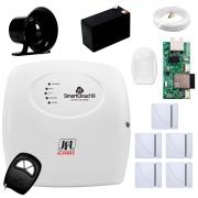 Central Alarme JFL SmartCloud 18 com 18 zonas + 5 Sensores Magnético Sem Fio + 1 Sensor de Alarme Infravermelho + Módulo Ethernet e Wi-Fi JFL ME-05 WB + Cabo 4 Vias 0,50mm 10m + Bateria + Sirene