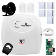 Central Alarme JFL SmartCloud 18 com 18 zonas + 5 Sensores Magnético Sem Fio + 2 Sensores de Alarme Infravermelho + Módulo Ethernet e Wi-Fi JFL ME-05 WB + Cabo 4 Vias 0,50mm 10m + Sirene