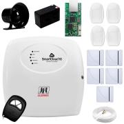 Central Alarme JFL SmartCloud 18 com 18 zonas + 5 Sensores Magnético Sem Fio + 4 Sensores de Alarme Infravermelho + Módulo Ethernet JFL ME-04 Mob + Cabo 4 Vias 0,50mm 10m + Bateria + Sirene