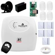 Central Alarme JFL SmartCloud 18 com 18 zonas + 5 Sensores Magnético Sem Fio + 4 Sensores de Alarme Infravermelho + Módulo Ethernet e Wi-Fi JFL ME-05 WB  + Cabo 4 Vias 0,50mm 10m + Bateria + Sirene