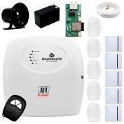 Central Alarme JFL SmartCloud 18 com 18 zonas + 5 Sensores Magnético Sem Fio + 5 Sensores de Alarme Infravermelho +  Módulo Ethernet e Wi-Fi JFL ME-05 WB + Cabo 4 Vias 0,50mm 10m + Bateria + Sirene