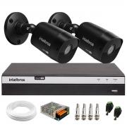 Kit 2 Câmeras Black Bullet Infravermelho Multi HD Intelbras VHD 1220 B G6 Full HD 1080p - HDCVI, HDTVI, AHD, ANALÓGICO + DVR Intelbras  Full HD MHDX 3104 de 04 Canais + Conectores e Acessórios