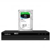 DVR Gravador de vídeo Intelbras 4 canais MHDX 1204 Detecção Inteligente de Movimento + HD Seagate SkyHawk 1TB