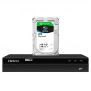 DVR Gravador de vídeo Intelbras 4 canais MHDX 1204 Detecção Inteligente de Movimento + HD Seagate SkyHawk 4TB
