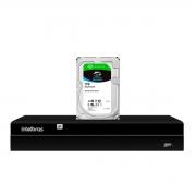 NVD Gravador Digital de Vídeo NVR  1404 - 4 Canais 8MP 4k Ultra HD Via rede IP + HD Para Armazenamento Skyhawk 1TB