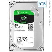 HD Seagate SATA 3,5´ BarraCuda 3TB 7200RPM 64MB Cache SATA 6Gb/s - ST3000DM00
