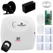 Central Alarme JFL SmartCloud 18 com 18 zonas + 5 Sensores Magnético Sem Fio + 2 Sensores de Alarme Infravermelho + Módulo Ethernet JFL ME-04 Mob + Cabo 4 Vias 0,50mm 10m + Bateria + Sirene