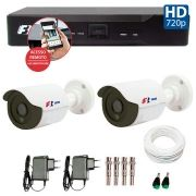 Kit 02 Câmeras de Segurança Bullet HD 720p Focusbras + DVR Focusbras + Acessórios