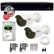 Kit 02 Câmeras de Segurança Bullet HD 720p Focusbras + DVR Luxvision All HD + HD para Gravação 1TB + Acessórios