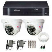 Kit 02 Câmeras de Segurança Dome HD 720p Focusbras + DVR Intelbras Multi HD + Acessórios