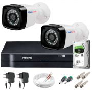 Kit 2 Câmeras + DVR Intelbras + HD 1 TB + App de Monitoramento, Câmeras HD 720p 20m Infravermelho de Visão Noturna + Fonte, Cabos e Acessórios
