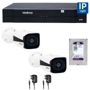 Kit 02 Câmeras de Segurança IP 1Mp HD 720p Intelbras VIP 1120 B + NVD 1108 Intelbras, NVR, HVR + HD WD Purple 1TB