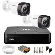 Kit 02 Câmeras Full HD 720p+ DVR Giga Security + App Grátis de Monitoramento, Câmeras 20m Infravermelho de Visão Noturna + Fonte, Cabos e Acessórios