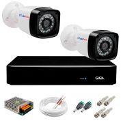 Kit 02 Câmeras Full HD 1080p Full HD 1080p + DVR Giga Security + App Grátis de Monitoramento, Câmeras 20m Infravermelho de Visão Noturna + Fonte, Cabos e Acessórios