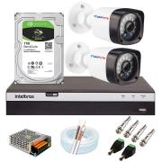 Kit 02 Câmeras Full HD 1080p 20m Infravermelho de Visão Noturna + DVR Intelbras + HD 1 TB + App Grátis de Monitoramento + Fonte, Cabos e Acessórios