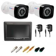 "Kit 02 Câmeras Infra Bullet + Tela Monitor 7"" LCD Colorido + Acessórios"