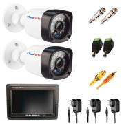Kit 02 Câmeras Infra Bullet + Tela Monitor 7 polegadas LCD Colorido + Acessórios