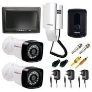 Kit Porteiro Eletrônico IPR8010 Intelbras +  02 Câmeras Bullet Tudo Forte + Tela Monitor 7 polegadas LCD Colorido + Acessórios