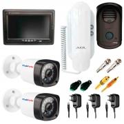 Kit  02 Câmeras Infravermelho 20m Tudo Forte + Porteiro Eletrônico Porteiro Eletrônico AGL S100 Slim + Tela Monitor 7 polegadas LCD Colorido + Acessórios