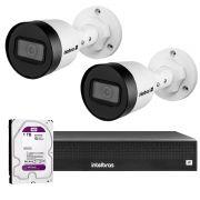 Kit 02 Câmeras IP Full HD Intelbras VIP 3220 B + NVD 1304 + HD WD Purple 1TB