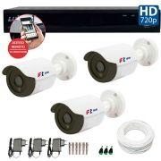 Kit 03 Câmeras de Segurança Bullet HD 720p Focusbras + DVR Luxvision All HD + Acessórios